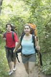 Couple hiking in a forest