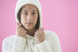 Teenager wearing hooded sweater