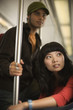 Couple on metro train