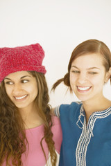 Close up of two smiling young women