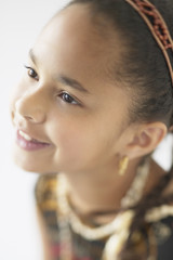 Young African American girl smiling