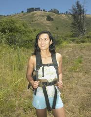 Female hiker in rural setting