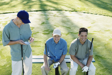 Golfers taking a break