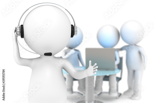 Customer Support. DOF background with people working.