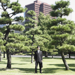 Businessman standing in park