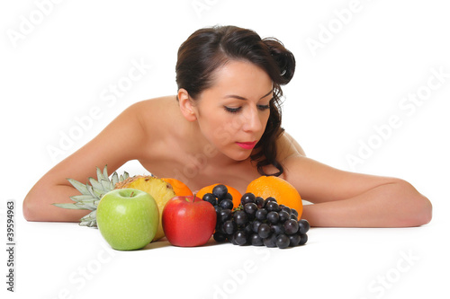 portrait of a woman with fruit