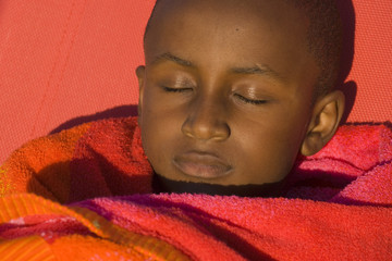 Close up of boy sleeping