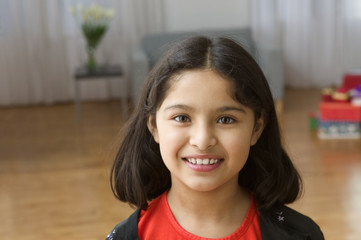 Close up portrait of girl smiling