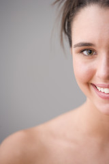 Close up portrait of teenage girl smiling