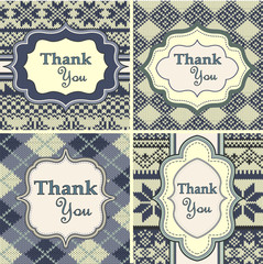Set of vintage thank you cards with knitted background