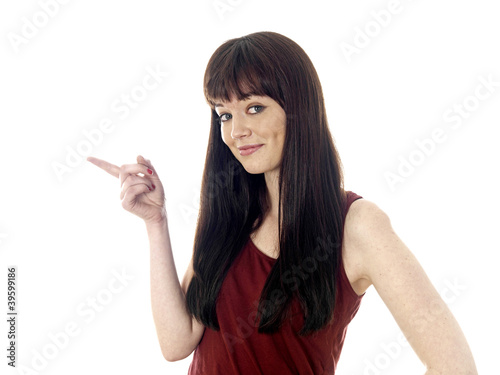 Young Woman Pointing. Model Released