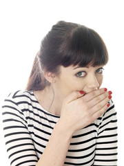 Young Woman Covering Mouth. Model Released