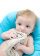 baby in the bath relieves teething pain with cloth