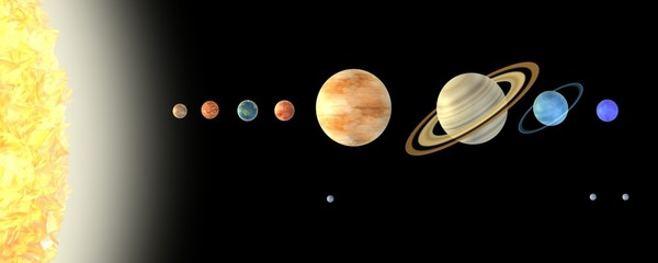 3d render of solar system (planets)