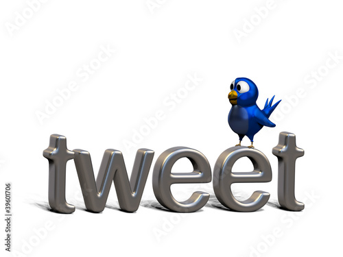 canvas print picture Blue twittering bird standing on the word tweet