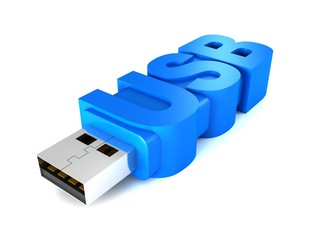 blue usb flash memory drive with text letters