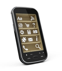 Touchscreen smartphone with application icons on shelves