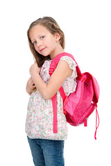 Young student with school bag.