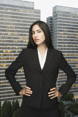 Businesswoman posing in front of city landscape