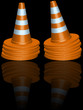 traffic cones piles