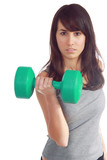 Young attractive girl lift a weight with determination poster