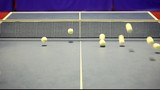 A lot of balls jump in table tennis table.