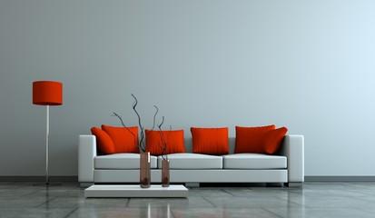Wohndesign . Sofa mit roten Kissen