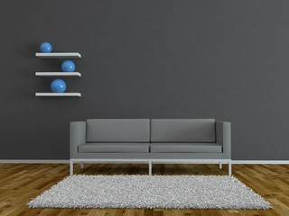 Wohndesign - graues Sofa