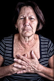 Mature woman suffering from chest pain
