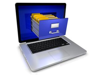 Laptop mit Ordner