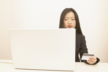 Businesswoman paying online