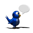 Blue twittering bird with speak balloon
