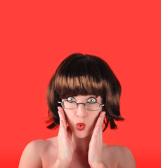 Surprised Woman with Red Background