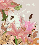 Fototapety vintage lilies composition