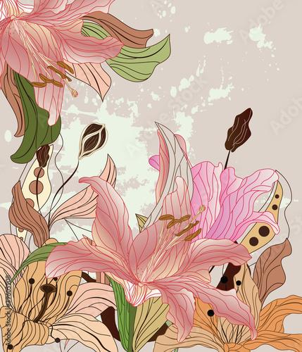 vintage lilies composition