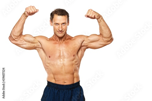Handsome muscular man isolated on white.