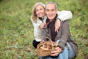 Senior couple collecting mushrooms in the forest