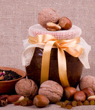 Beautiful jam, tea and nuts