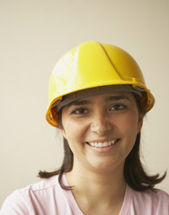 Young woman wearing a hard-hat