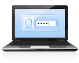 Password protected open laptop with authorization form poster