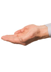 Male hands cupped