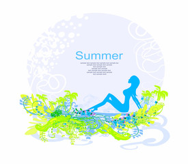 Tropical girl Grunge Poster