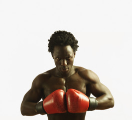 Boxer preparing to fight