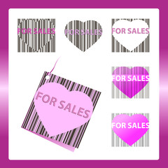 Heart for sales barcode label