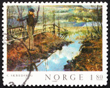 Postage stamp Norway 1980 Self-portrait, by Christian Skredsvig