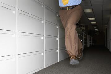 Businessman fleeing office