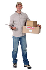 Delivery man standing on white background