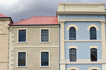 Colourful building facades, Hobart, Tasmania, Australia