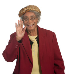 Happy senior African American Lady Waving