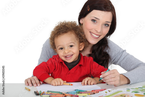 Woman and child colouring